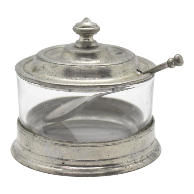 Match Italian Pewter & Glass Jam or Sugar Jar With Spoon For Sale