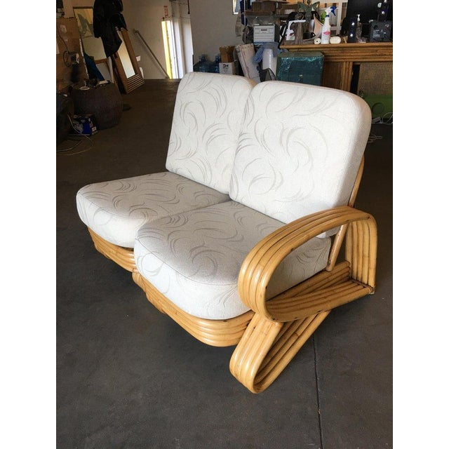 "1950s Restored 4 Strand ""R"" Arm 2 Seat Sectional Rattan Corner Sofa W/ Side Table Set For Sale - Image 5 of 9"