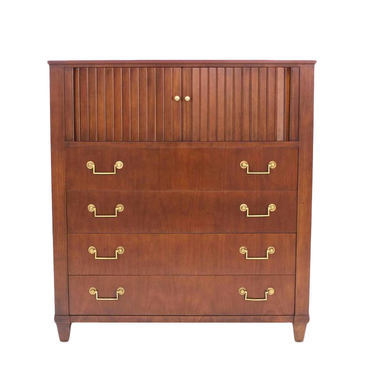 Baker Modern Five Drawer High Chest Tambour Door Compartment Brass Hardware  Pull   Image 1 Of