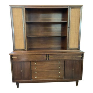20th Century Mid-Century Cane and Walnut Credenza With Bookcase Hutch For Sale