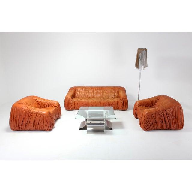 Leather Postmodern Cognac Leather 'Piumino' Sofa by De Pas, D'urbino & Lomazzi For Sale - Image 7 of 8