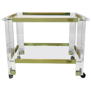 STUNNING BRASS AND LUCITE BAR CART BY CHARLES HOLLIS JONES