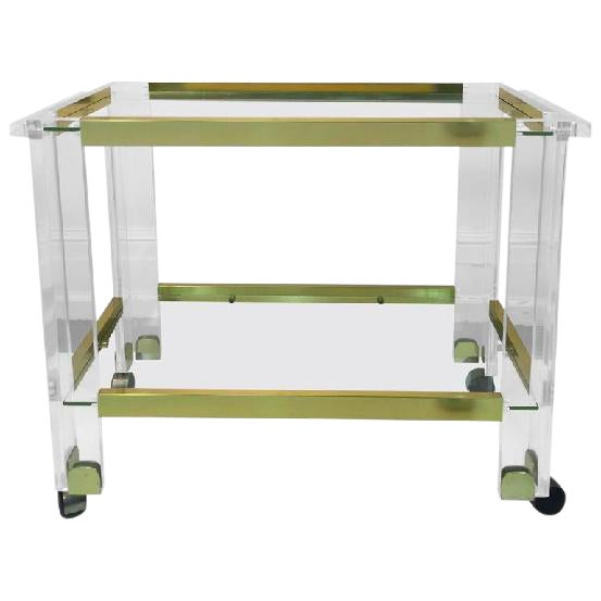 STUNNING BRASS AND LUCITE BAR CART BY CHARLES HOLLIS JONES For Sale