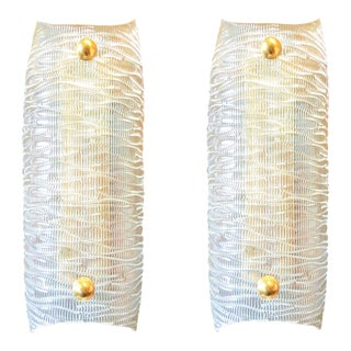 mid-century modern clear textured Murano glass & brass sconces - a pair For Sale