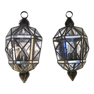 Tin Glass and Mirrored Faceted Lantern Sconces -A Pair For Sale