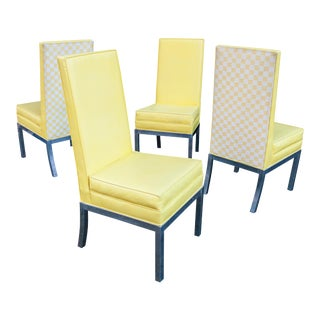 Chrome Upholstered Parsons Chairs – Set of 4 For Sale