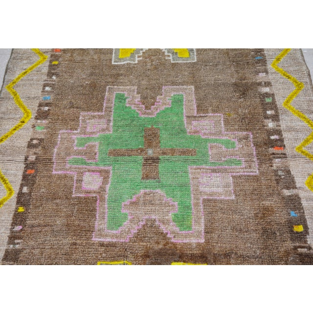 "Boho Chic Vintage Kurdish Tribal Rug,3'8""x10'5"" For Sale - Image 3 of 6"
