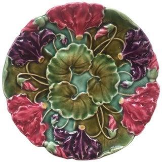 1900 Antique Majolica Flowers Plate Schultz Cilli