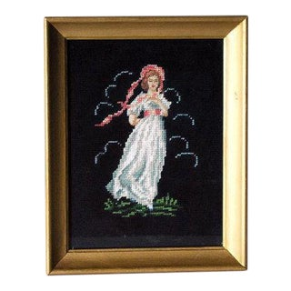 "Vintage Needlepoint Picture, Thomas Lawrence's ""Pinkie"""