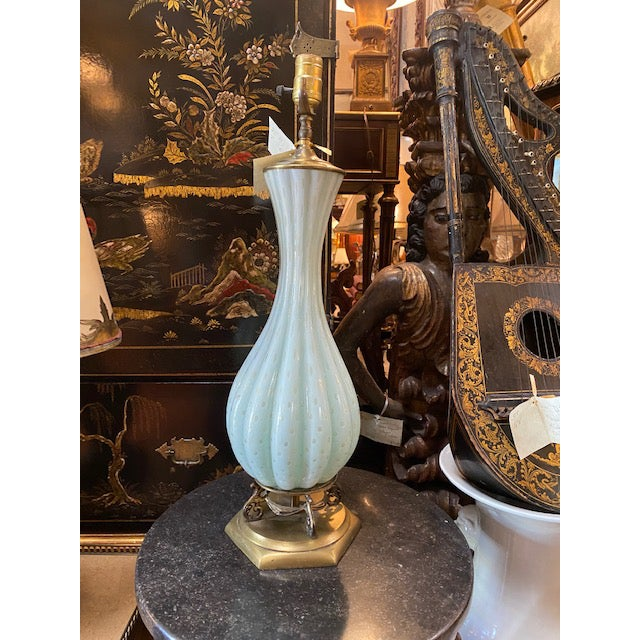 Antique White Vintage Murano Glass Lamp For Sale - Image 8 of 11