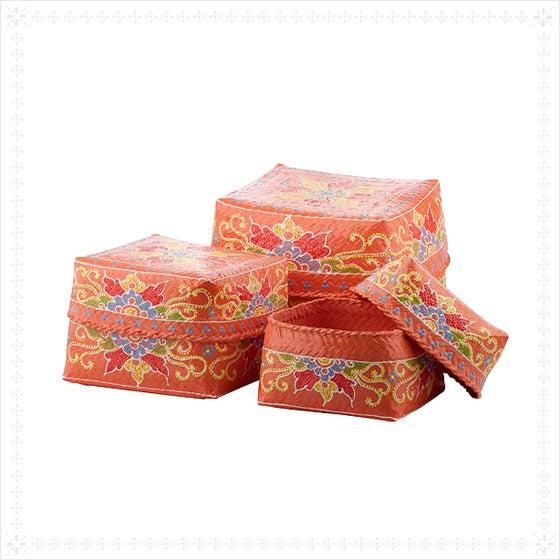 Asian Saffron Floral Design Baskets - Set of 3 For Sale - Image 3 of 3