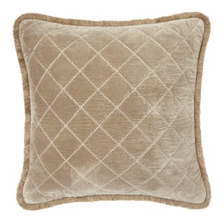 Quilted Velvet Fringe Pillow, Taupe For Sale