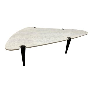 1960s Sculptural Carrara Marble Top Coffee Table For Sale