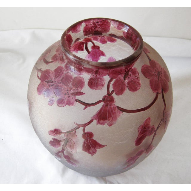 Japanese Antique Legras Frosted Cameo Glass Vase For Sale - Image 3 of 6