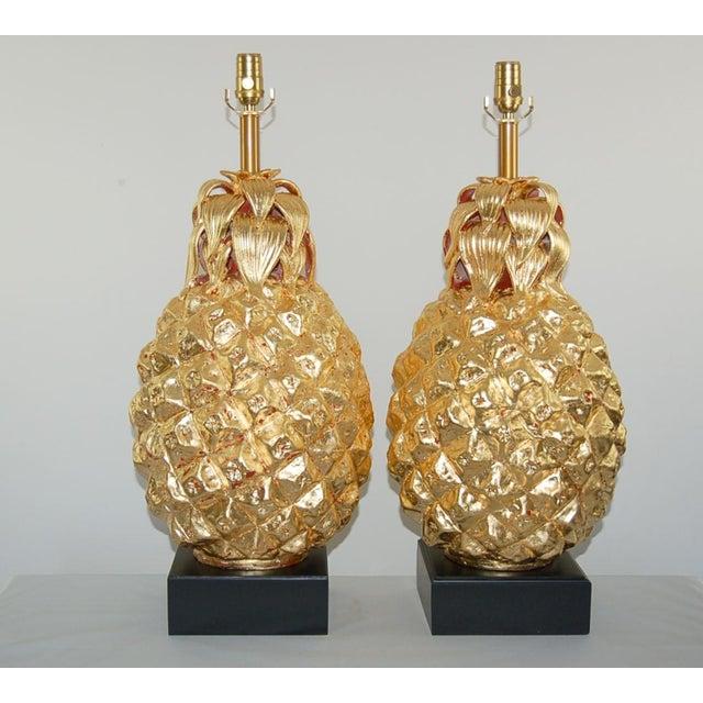 Italian Marbro Italian Ceramic Pineapple Table Lamps Gold For Sale - Image 3 of 11