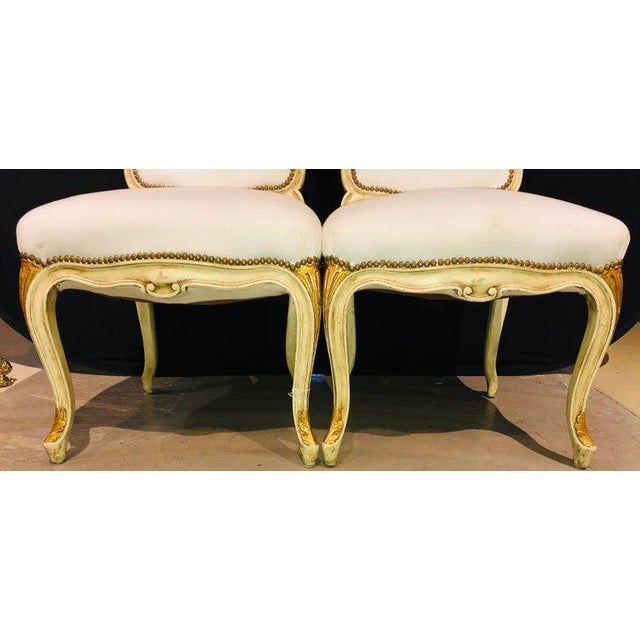 Maison Jansen Labeled Jansen Fine Pair of Oversized Side or Desk Chairs in Parcel Gilt Paint For Sale - Image 4 of 13