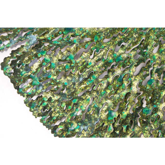 Early 21st Century Green and Gold Iron Seaweed Wall Sculpture by Fabio Ltd For Sale - Image 5 of 6