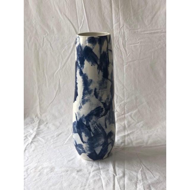 Tall Cobalt Criss Cross Slip Vase For Sale In New York - Image 6 of 6