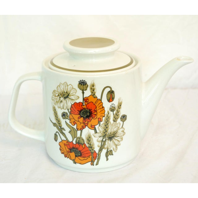 Meakin & Co. J & G Meakin Poppies Teapot & Cups For Sale - Image 4 of 4