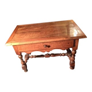 18th Century French Walnut Single Drawer Table With Stretches For Sale