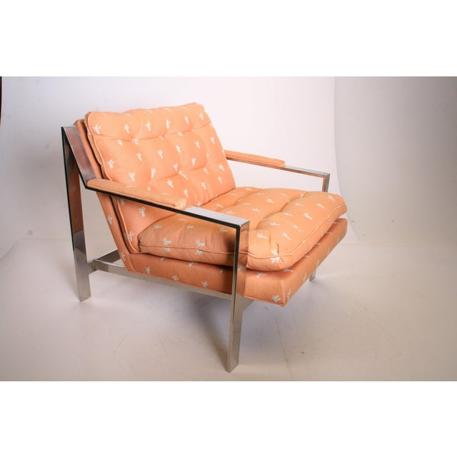 Vintage Chrome Upholstered Arm Chair by Cy Mann - Image 2 of 11