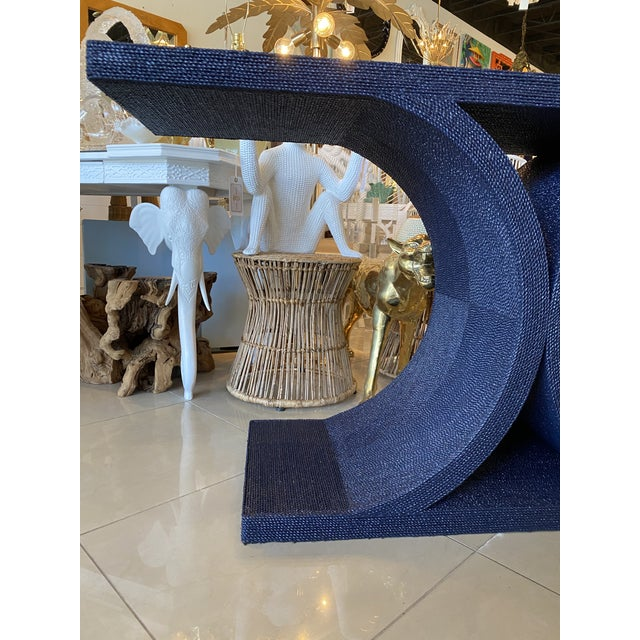 Vintage Karl Springer Style Navy Blue Lacquered Rope Console Table For Sale - Image 11 of 13