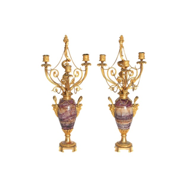 Neoclassical / Louis XVI-Style Gilt Bronze Mounted Blue John Candlelabra For Sale