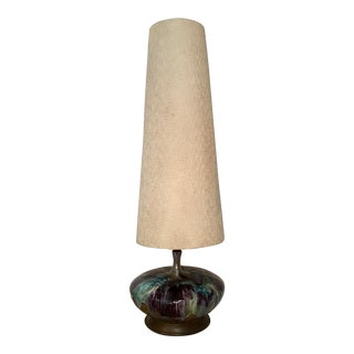Mid-Century Modern Drip Glaze Lamp With Original Shade For Sale