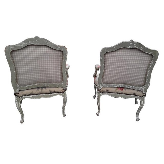 Pair French Needlepoint Bergeres Antique Pair of Shabby French Country Armchairs For Sale - Image 4 of 6
