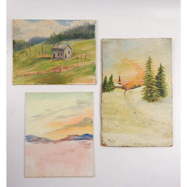 1960s Gallery Wall Group of Rustic Landscape Paintings - Set of 3 For Sale - Image 5 of 5