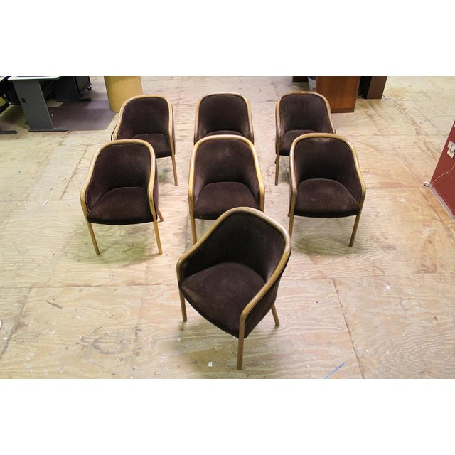 Mid-Century Modern Walnut & Mohair Dining Chairs - Set of 7 For Sale - Image 9 of 10