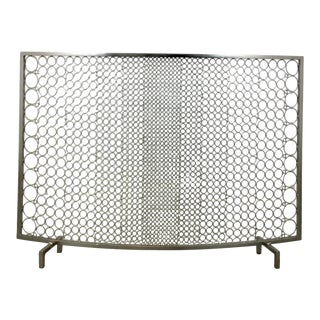 Modern Geometric Polished Nickel Fireplace Screen For Sale