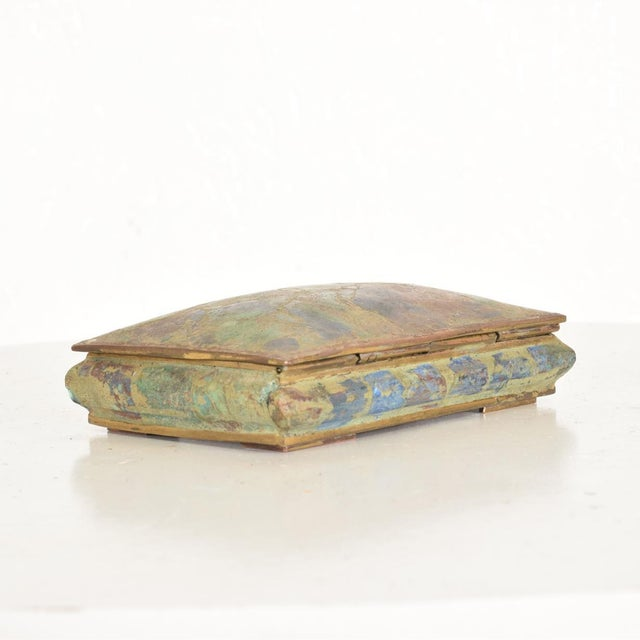 Mid-Century Modern Mid-Century Mexican Modernist Malachite & Brass Small Trinket Box For Sale - Image 3 of 9