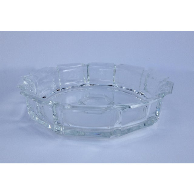 C. 1980s; Large Modern Lucite, crown-shaped, scalloped or fluted center server bowl, fruit bowl, etc. It can be used as...