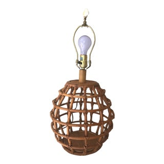 Vintage 1970's Bohemian Rattan Bamboo Wicker Table Lamp For Sale