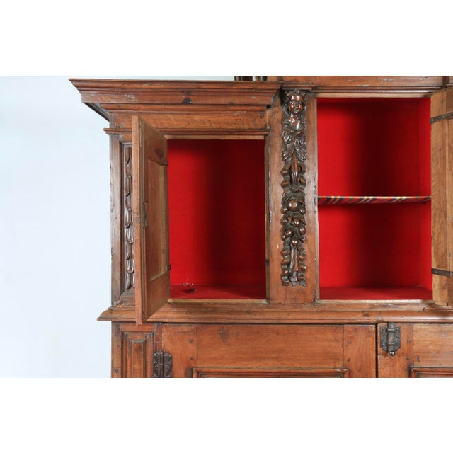 Late 1800's Rustic 2 Piece Italian Cabinet For Sale - Image 4 of 13