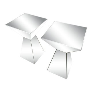 Pair of Mirrored End Side Tables For Sale