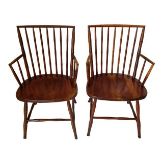 1960s Chippendale Style Faux Bamboo End Chairs - a Pair