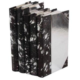Metallic Hide Black & Silver Books - Set of 5 For Sale