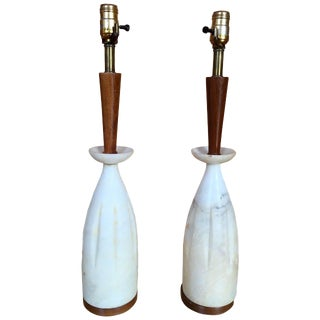 Italian Alabaster and Walnut Table Lamps - a Pair For Sale