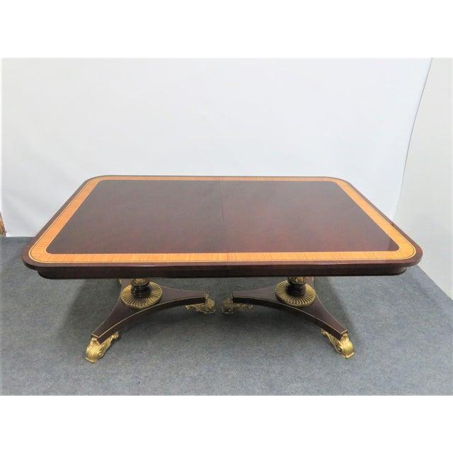Hollywood Regency Regency Baker Furniture Company Banded Mahogany Dining Table For Sale - Image 3 of 12