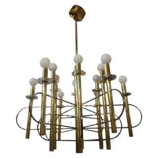 1970s Gaetano Sciolari Italian Brass and Chrome Chandelier For Sale