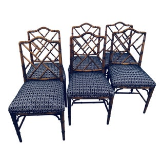 Vintage Century Furniture Chinese Chippendale Faux Bamboo Wood Side Dining Chairs -Set of 6