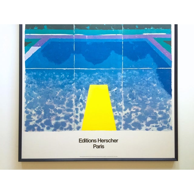 """Pop Art David Hockney Rare Vintage 1978 Iconic Fine Art Lithograph Print Framed Pop Art Poster """" Day Pool With Three Blues """" For Sale - Image 3 of 13"""