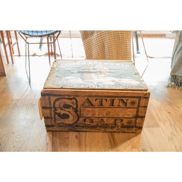 White Antique Soap Box Crate With Label For Sale - Image 8 of 11
