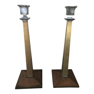 Antique Bradley and Hubbard Bronze and Nickel Candlesticks - a Pair For Sale