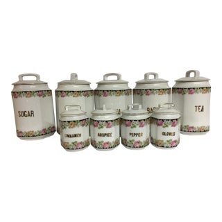 Antique European Ceramic Kitchen Canisters - Set of 9 For Sale