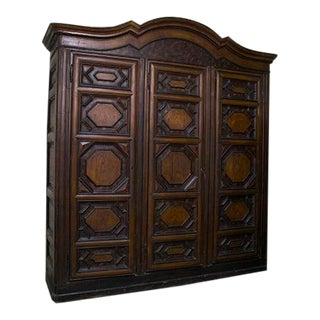 Italian Three Door Walnut Cupboard For Sale