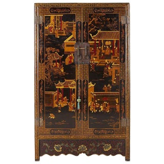 Chinese Export Two-Door Lacquered Wedding Style Cabinet For Sale