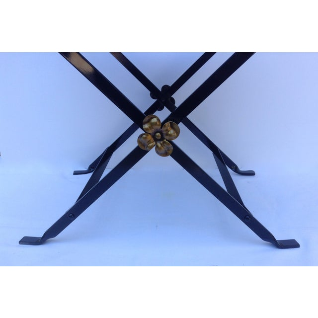 Gold 1920s Neoclassical Iron X-Frame Gryphons Bench For Sale - Image 8 of 10